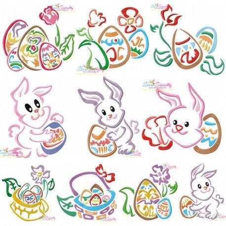 Easter Outlines Designs Embroidery Design Bundle-1