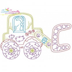 Vintage Bean Stitch Bulldozer Embroidery Design