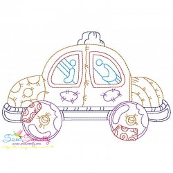 Bean Stitch Car Embroidery Design