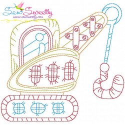 Bean Stitch Construction Truck-2 Embroidery Design