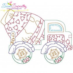 Vintage Bean Stitch Construction Truck-3 Embroidery Design