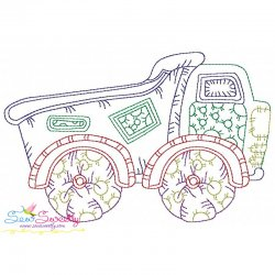 Vintage Bean Stitch Dump Truck Embroidery Design