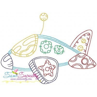 Bean Stitch Fighter Plane Embroidery Design