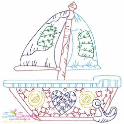 Vintage Bean Stitch Sailboat Embroidery Design
