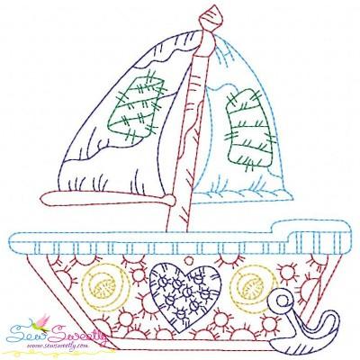 Vintage Bean Stitch Sailboat Embroidery Design