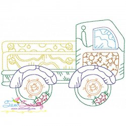 Vintage Bean Stitch Truck Embroidery Design