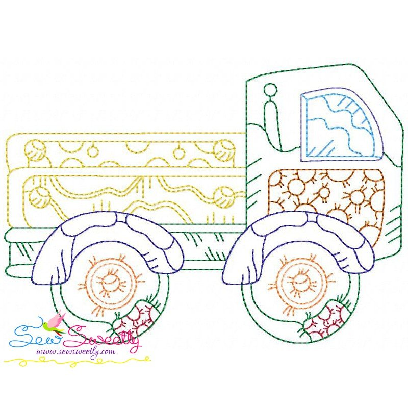 Vintage bean stitch truck machine embroidery design
