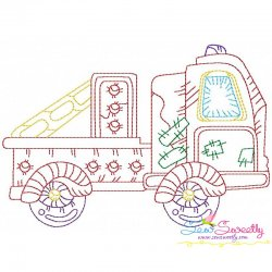 Vintage Bean Stitch Truck-2 Embroidery Design