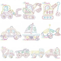 Vintage Bean Stitch Transportation Embroidery Design Bundle