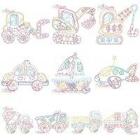 Vintage Bean Stitch Transportation Embroidery Design Bundle