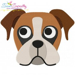 Boxer Dog Head Embroidery Design
