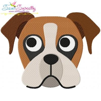Boxer Dog Head Embroidery Design