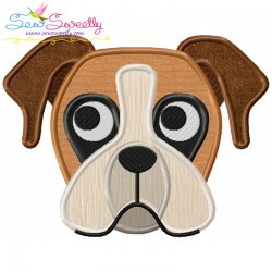 Boxer Dog Head Applique Design