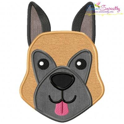 German Shepherd Dog Head Applique Design