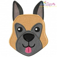 German Shepherd Dog Head Applique Design