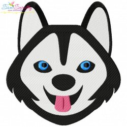 Husky Dog Head Embroidery Design