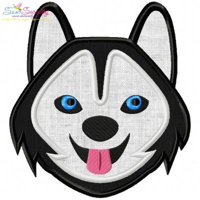 Husky Dog Head Applique Design