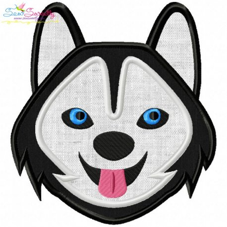 Husky Dog Head Applique Design