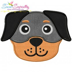 Rottweiler Dog Head Applique Design
