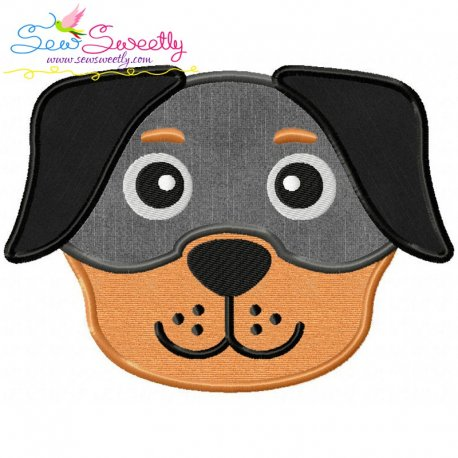 Rottweiler Dog Head Applique Design