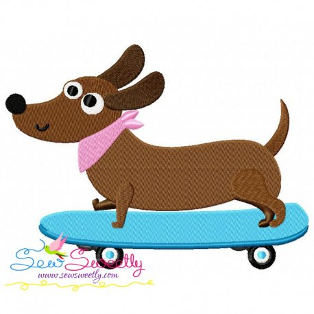 Skateboard Dog Embroidery Design
