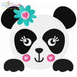 Panda Face Girl Embroidery Design