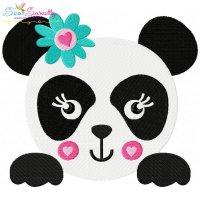 Panda Face Girl Embroidery Design