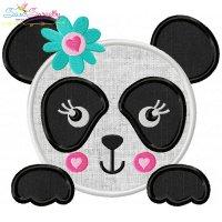 Panda Face Girl Applique Design