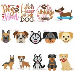 Big Dog Breeds Embroidery Design Bundle