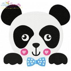 Panda Face Boy Embroidery Design