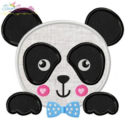Panda Face Boy Applique Design