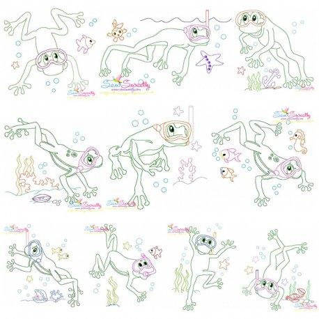 Bean Stitch Frog Underwater Embroidery Design Bundle