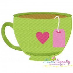 Tea Cup Heart Embroidery Design