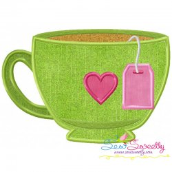 Tea Cup Heart Applique Design