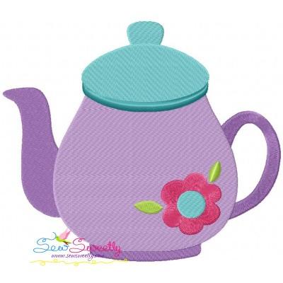 Tea Pot Flower Embroidery Design