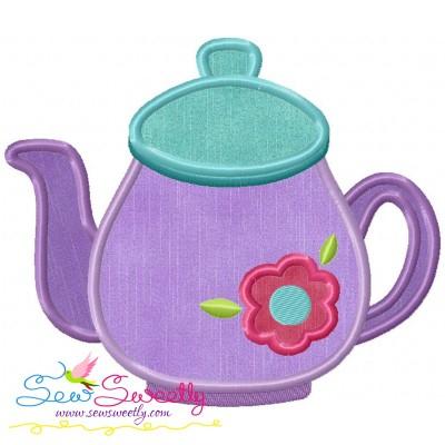 Tea Pot Flower Applique Design
