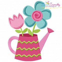 Watering Can Flowers Embroidery Design