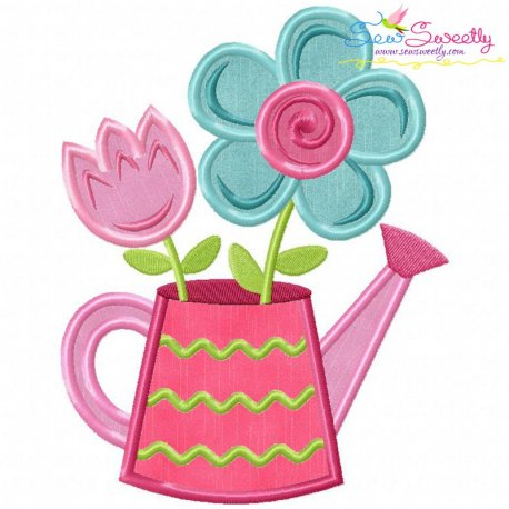 Watering Can Flowers Applique Design
