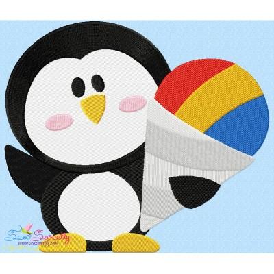 Penguin Snow Cone Embroidery Design