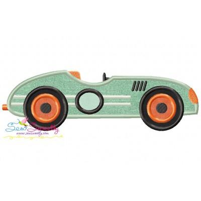 Vintage Race Car Applique Design