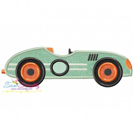 Vintage Race Car Applique Design