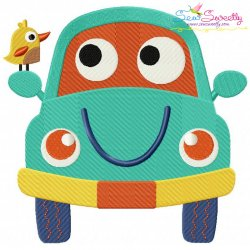 Happy Car Embroidery Design