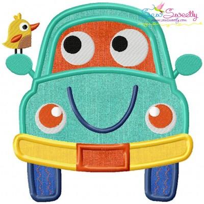 Happy Car Applique Design