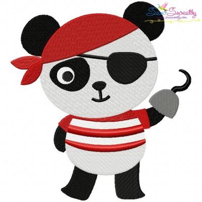 Panda Pirate Embroidery Design
