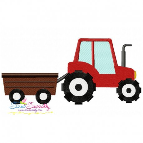 Tractor With Wagon Embroidery Design