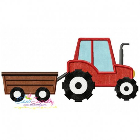 Tractor With Wagon Applique Design