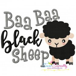Baa Baa Black Sheep Nursery Rhyme Embroidery Design