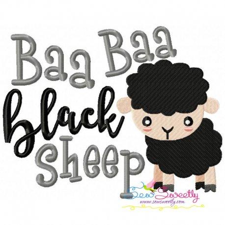 Baa Baa Black Sheep Nursery Rhyme Embroidery Design