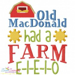 Old MacDonald Had a Farm Nursery Rhyme Embroidery Design