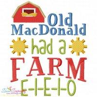 Old MacDonald Had a Farm Nursery Rhyme Embroidery Design